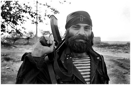 Christian soldier in the Nagorno-Karabakh war of the 1990's; fighting for God before man, but serving both in the process.