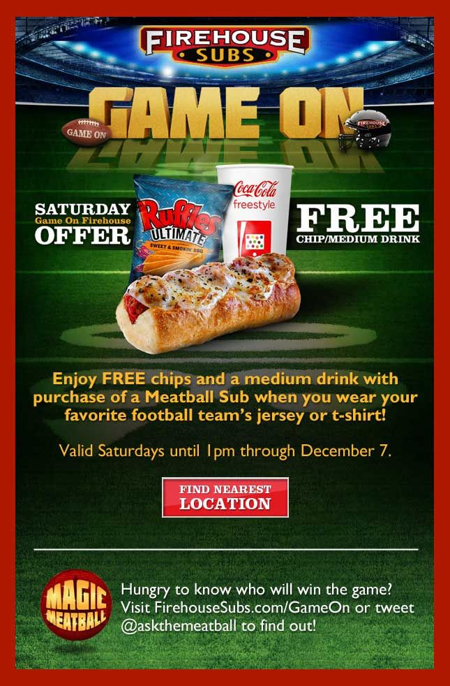 Pinned October 8th: Free chips & drink with your meatball sub #Saturdays til 1pm at Firehouse Subs #coupon via The Coupons App