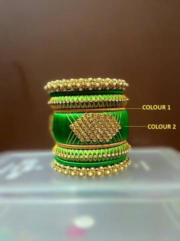 Green and Gold Designer Silk Thread Bangle Set
