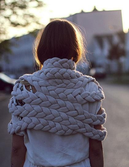 The perfect late-summer shrug evokes both friendship bracelets and nautical rope with its loose, knitted braids. #etsyfashion