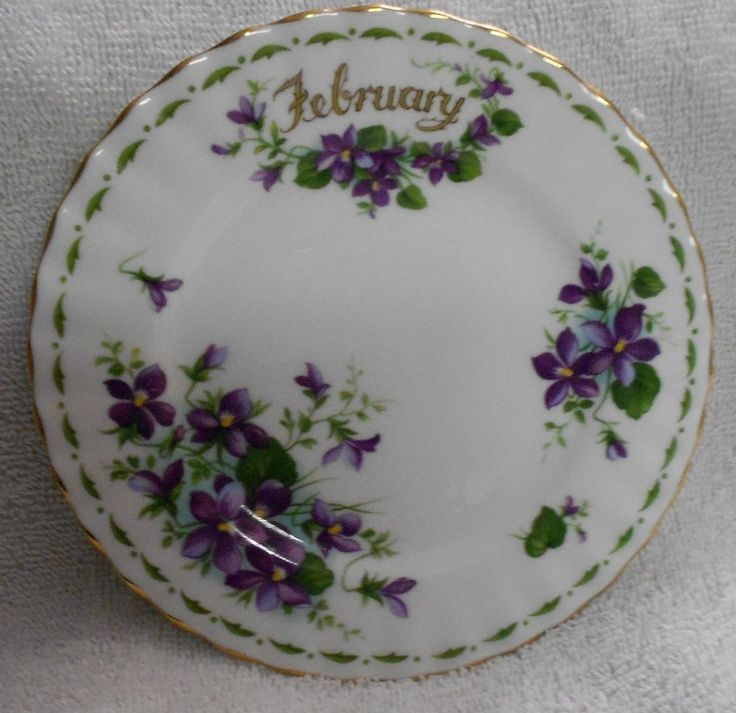 Royal Albert Flower of the Month February Purple And Green Side Plate  #RoyalAlbert