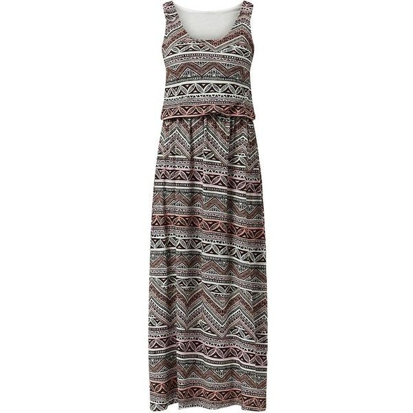Black Aztec Print Maxi Dress ($14) ❤ liked on Polyvore featuring dresses, aztec print maxi dress, holiday dresses, spaghetti-strap maxi dresses, maxi dresses and sleeveless cocktail dress