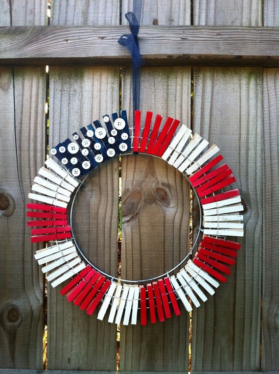American Flag Wreath by SarahsWreathsNThings on Etsy, $22.50