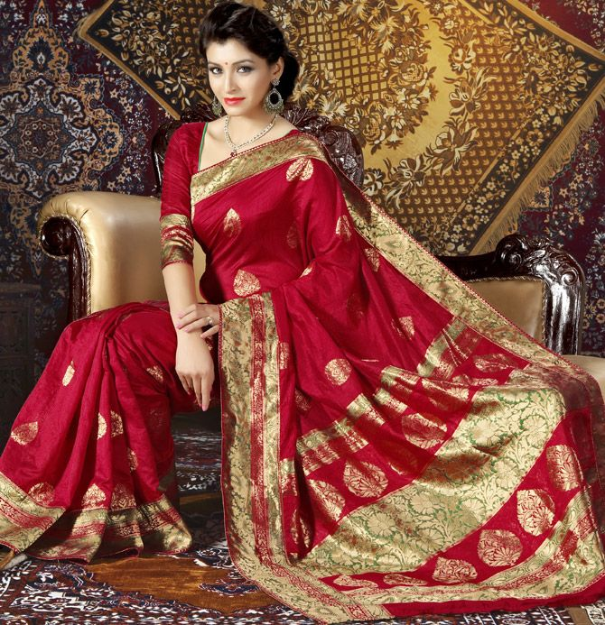 Red Hot Wedding Saree In Art Silk Fabric