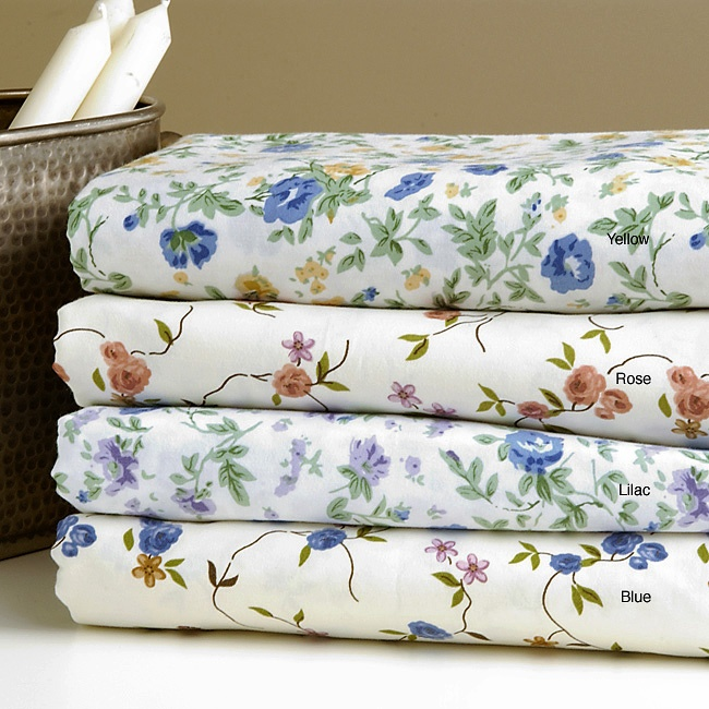 Floral Print Cotton Blend Sheet Set