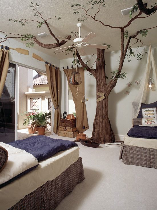 Amazing Kid Rooms for Your Inspiration: Amazing Kid Rooms Using Outdoor Landscaping With Tree Decor And Ceiling Fan Light In Mediterranean Kids Bedroom