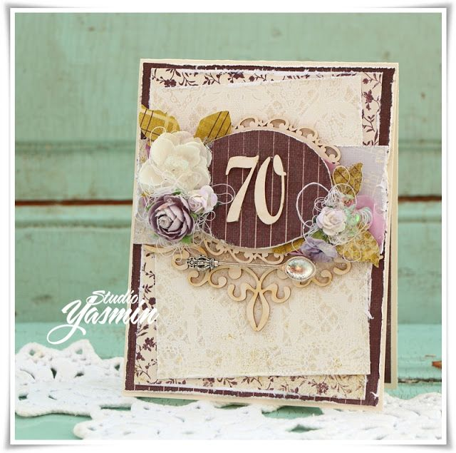 Studio Yasmin - card made for a 70th birthday with papers from Authentique and chipboards from Crafty Moly. #Authentique #Craftymoly #cardmaking #card #Scrapbooking