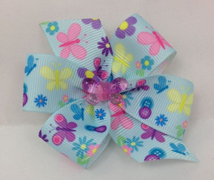 Pastel blue butterfly grosgrain ribbon set of two handmade hair bows #Handmade