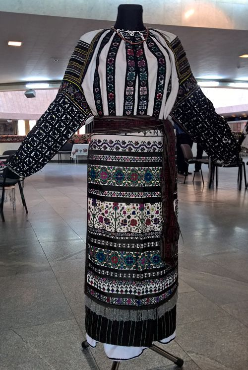 Women's traditional outfit with a lot of embroidery, Borshchiv area (Ternopil region, Western part of Ukraine)