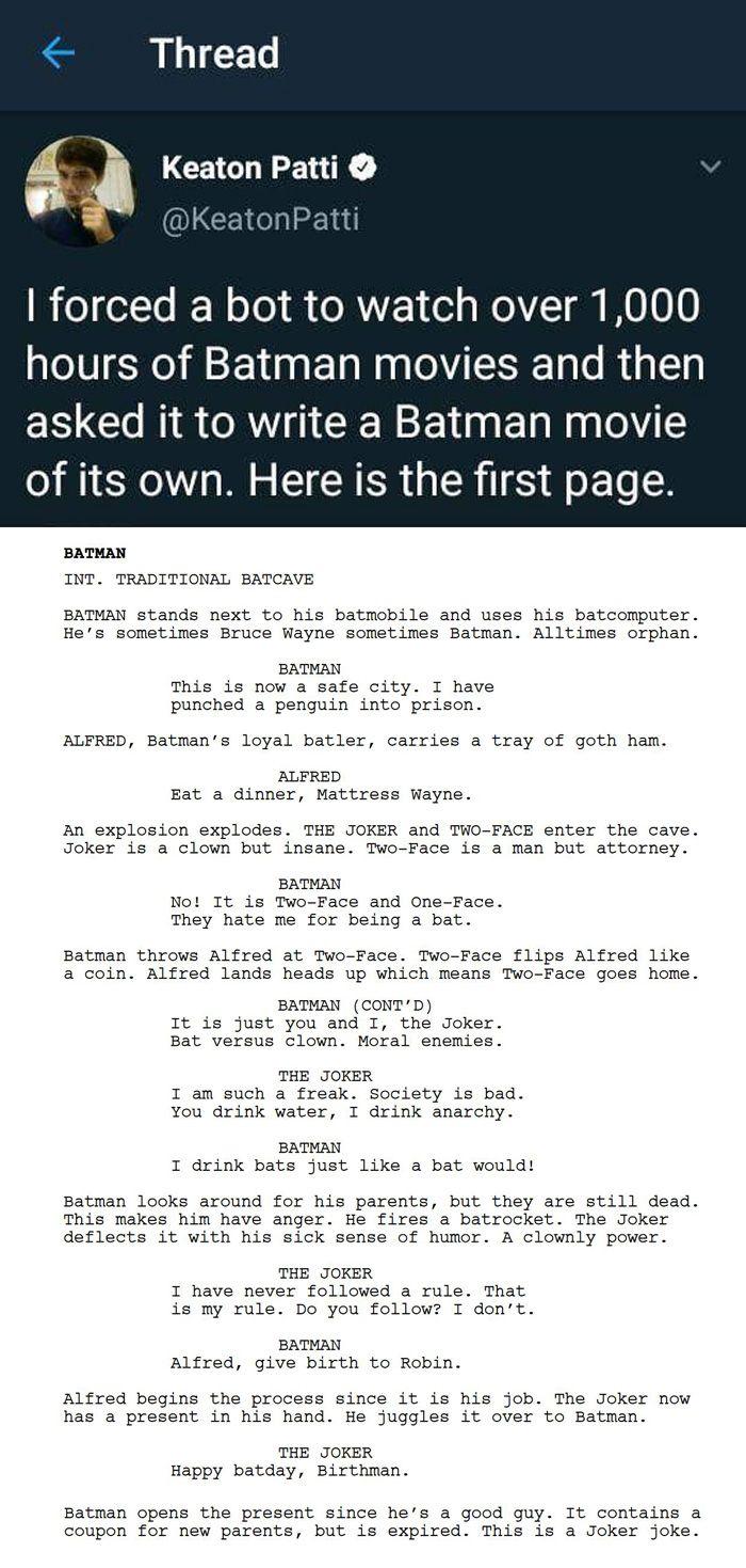 Bot Writes A Batman Movie Script Movie Scripts Comic Script Batman Movie