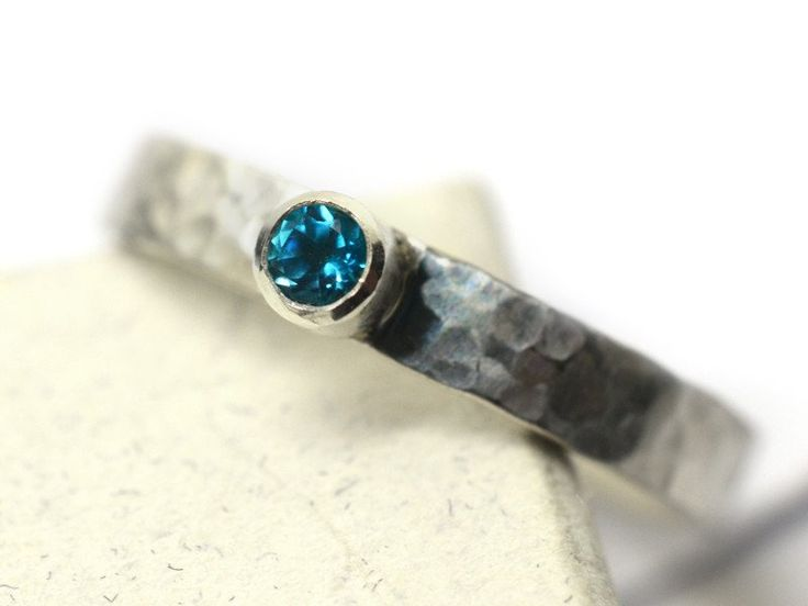 Tiny 3mm Paraiba Blue Topaz Promise Ring in Sterling Silver