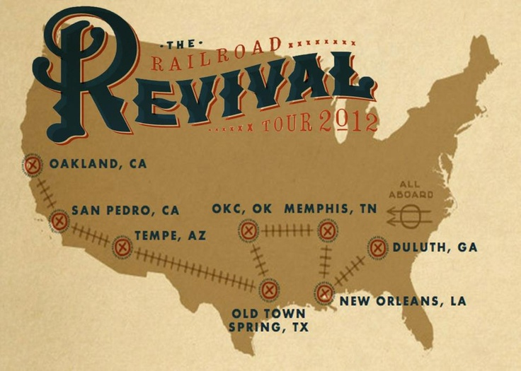 The Railroad Revival Tour 10/20 -28, 2012 is a one-of-a-kind tour experience that glorifies the historical romance between music & trains. Get on the train & experience RRT as a riderr! Private rooms available in reserved Amtrak sleeper railcar. Enjoy VIP access at the show, complimentary meals & beverages on board, local itinerary of events, exclusive gift bag &  extraordinary experience of traveling a bit of country with RRl. www.railroadrevival.com/rider.