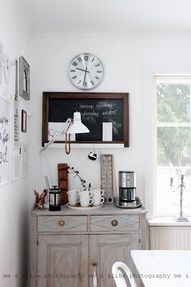 MANY ideas for cool & cozy home coffee stations---This would look good in the Master Bedroom too!