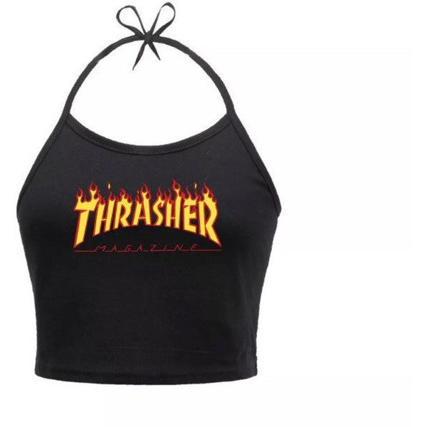 d7b719ab56be Thrasher Crop Tops ( 25) ❤ liked on Polyvore featuring tops