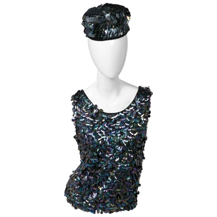 1960s Midnight Paillette Sequin Wool Hat and Sleeveless Sweater Set | From a collection of rare vintage sweaters at https://www.1stdibs.com/fashion/clothing/sweaters/