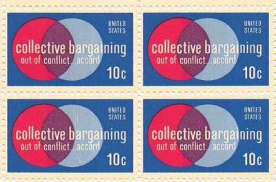 Collective Bargaining Set of 4 x 10 Cent US Postage Stamps NEW Scot 1558