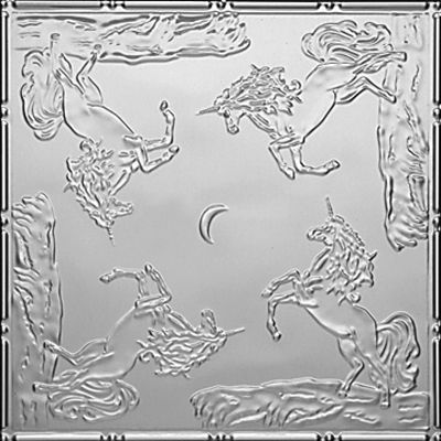 "Decorative Ceiling Tiles, Inc. Store - Playful Unicorns - Tin Ceiling Tile - 24""x24"" -"