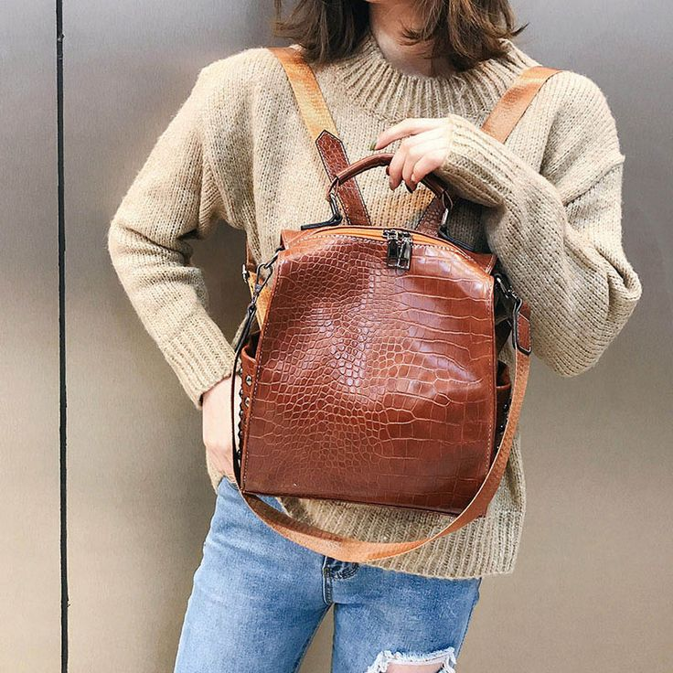 Vintage Women PU Leather Backpacks Alligator Casual Ladies Student School Bags Female Shoulder Bags Girls Back Pack XA297H