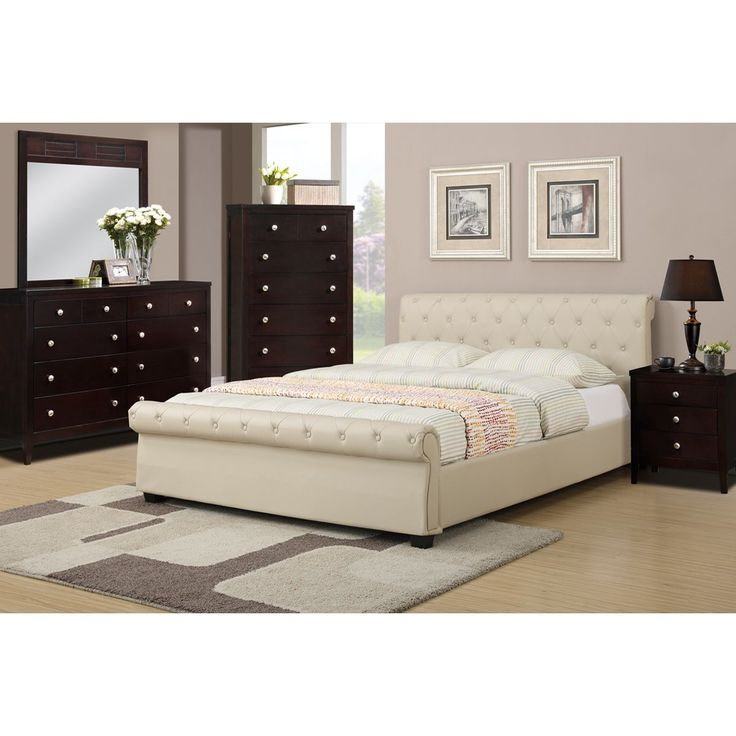 Poundex Galanta 4-piece Bedroom Set with Matching Nightstand, Mirror and Dresser