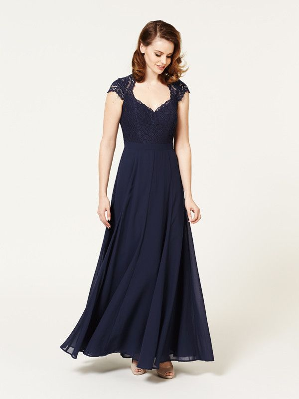 Aster Lace Maxi Dress in Navy