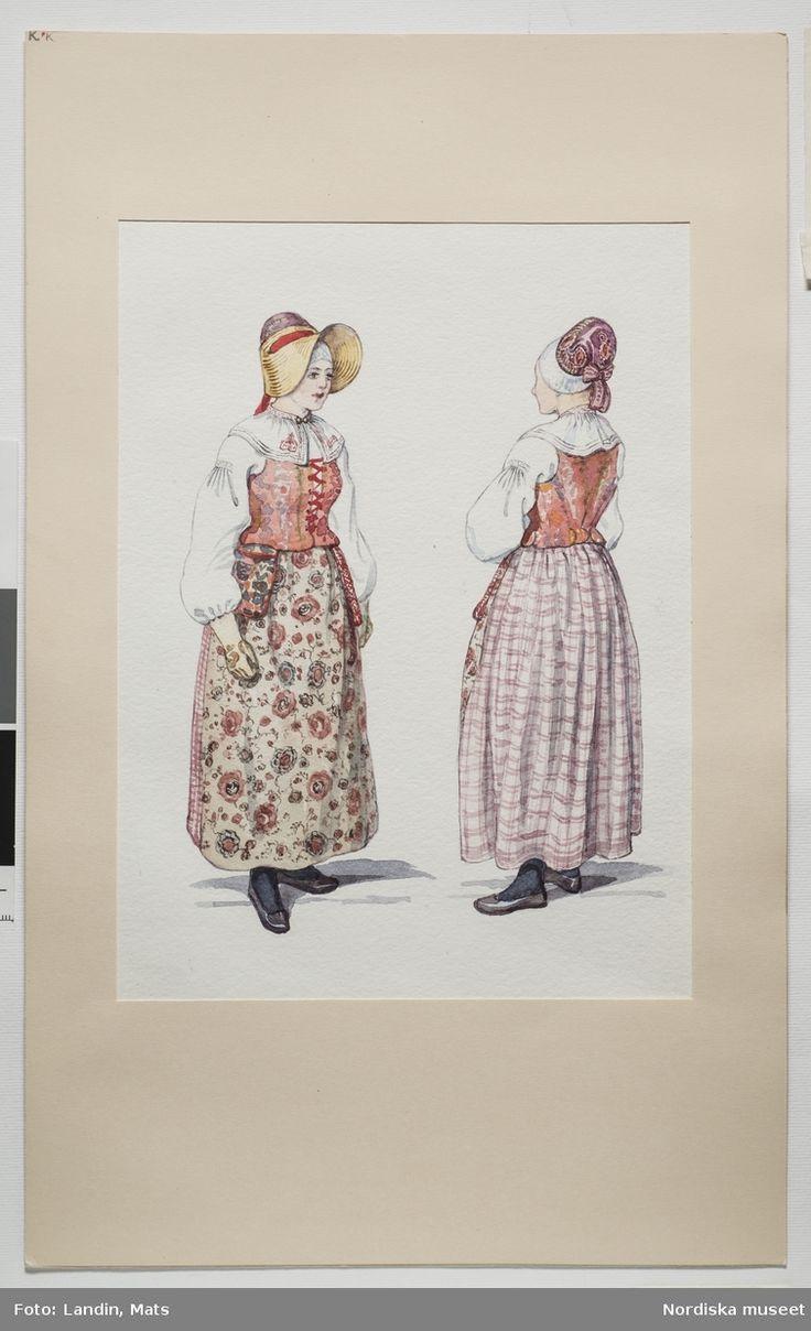 Helgdagsdräkt för kvinnor, Rackeby socken, Kållands härad Västergötland.Akvarell av Emelie von Walterstorff. (E.v.Walterstorff.) @…