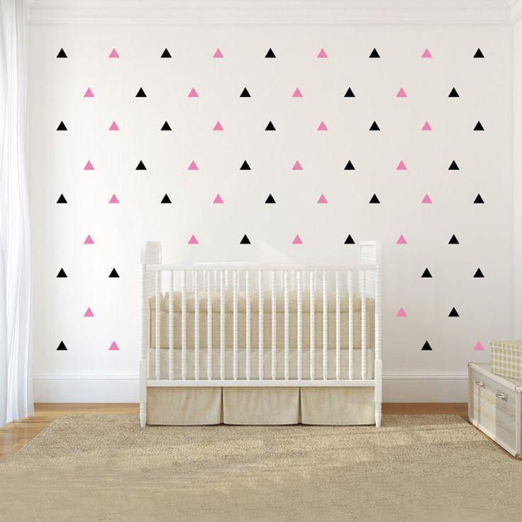 120 stks/set Driehoeken Patroon Muurtattoo 1,2 of 3 kleuren DIY Nursery Decals Kinderen Slaapkamer Home Decor Sticker Gratis verzending(China (Mainland))