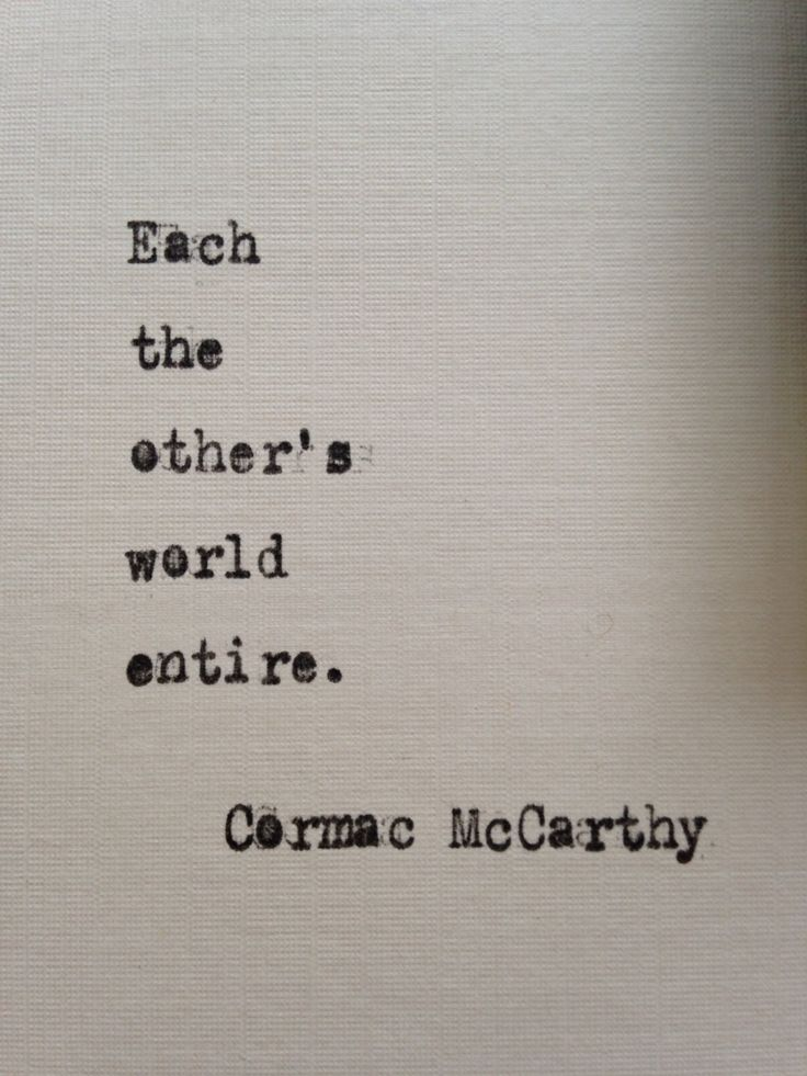 Cormac McCarthy quote hand typed on antique typewriter