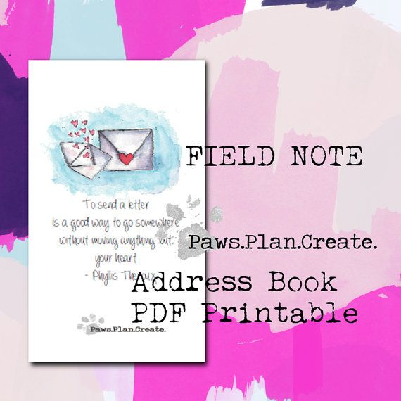 Address Book Field Note Size Travelers Notebook Insert PRINTABLE - field note