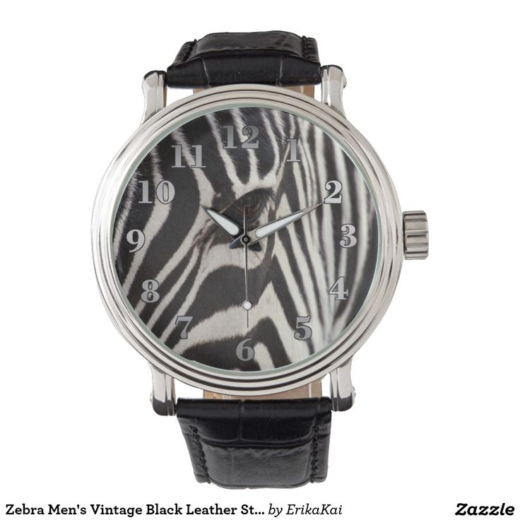 Zebra Men's Vintage Black Leather Strap Watch