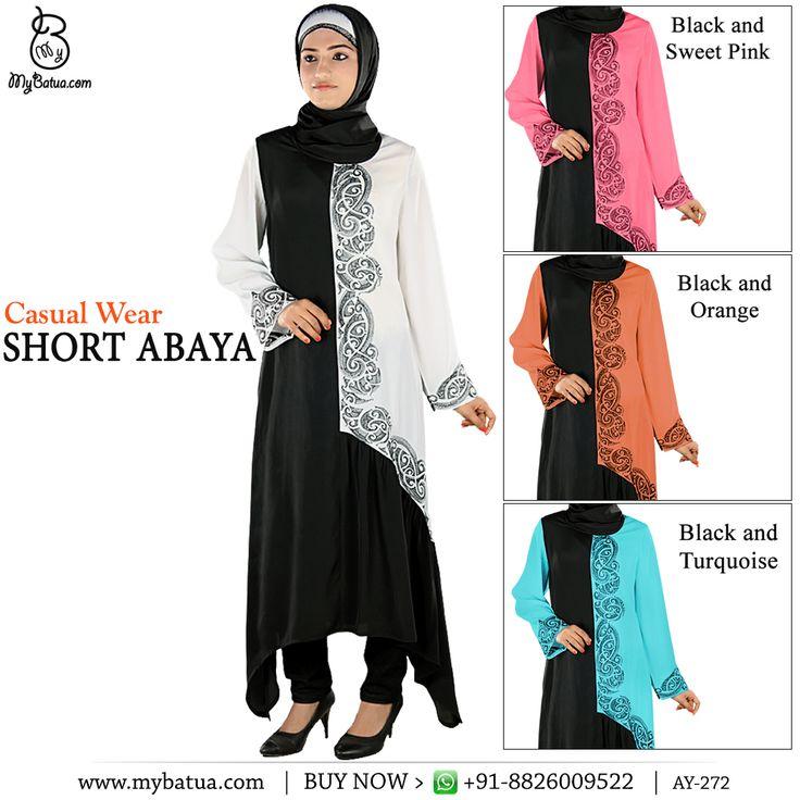 Ara Short Abaya | MyBatua Available in sizes XS to 7XL, length 50 to 66 inches.    Buy Link: http://bit.ly/2mJVBVq  Whatsapp: +91-8826009522 (#worldwide #shipping)    #abaya #muslimwomen #designer #jilbabwomen #arabclothing #symmeticabaya #gatherabaya #embroideredabaya #abayastyle #uaewomen