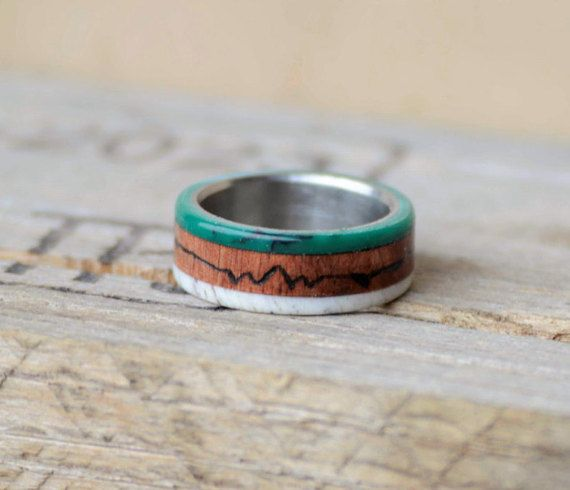"Mens Wedding Band: ""Teton Mountains"" Elk Antler, Yucatan Rosewood, and Green Jade Stone Inlay. Stag Hound, Elk Head Design"