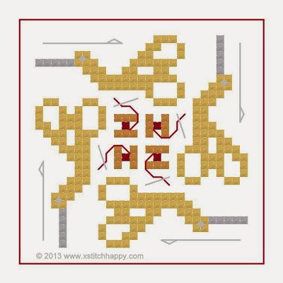 Cross Stitch Happy: New Stork Scissors Square Fob