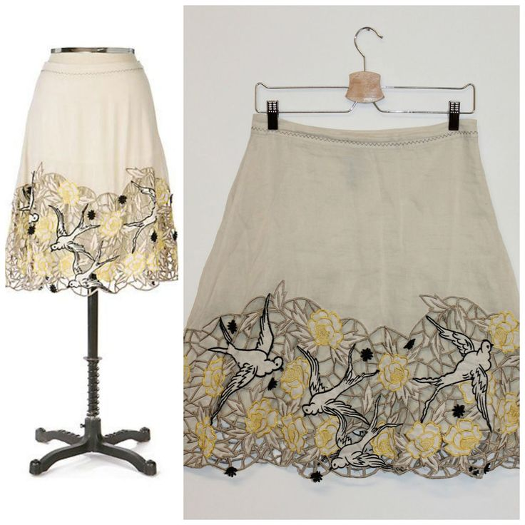 Anthropologie RARE Lithe Swallow's Holiday Skirt Bird Embroidered Cutout Lace 2 #Anthropologie #ALine