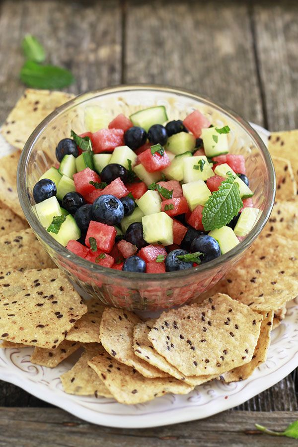 Yummy Mummy Kitchen: Minted Watermelon, Cucumber, and Blueberry Salad Recipe for July 4th