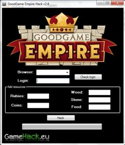 http://gamehack.eu/2012/goodgame-empire-hack-v2-4-2012/  - Add Rubies  - Add Coins  - Add Wood  - Add Stone  - Add Food  Watch, download and see for yourself!    Hey! I present the latest working hack to play GoodGame Empire! Feel free to watch the instructional video. What is there more to write, check and see that it works!