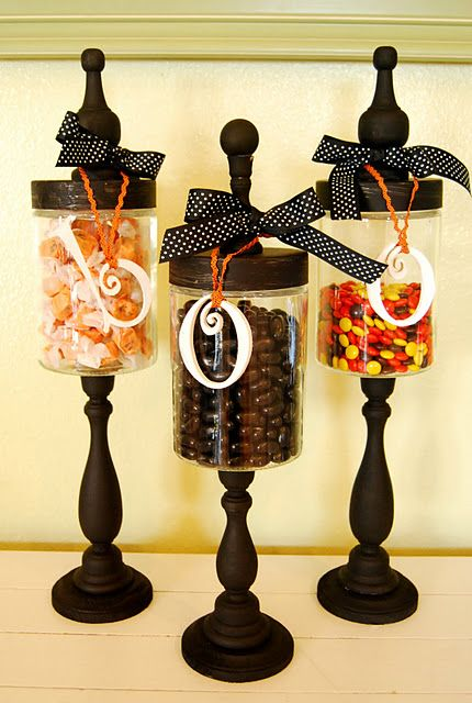 candlesticks - Michaels, 2.99 each  round base - any craft store, .50  letters - Hobby Lobby, .99 each  Glass Jar - Hobby Lobby, 2.99 each  Finial - .99 each or knob - bag full for $2 or so at any ol' craft store  ribbon & paint   I used hot glue for all parts excepts to adhere the glass onto the  candle stick & then I used super glue GEL.