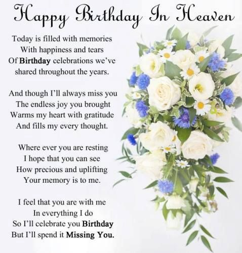 Happy birthday in heaven images quotes for friend brother sister daughter son wife husband uncle aunt grandmother grandfather.Wishing someone a happy birthday in heaven.