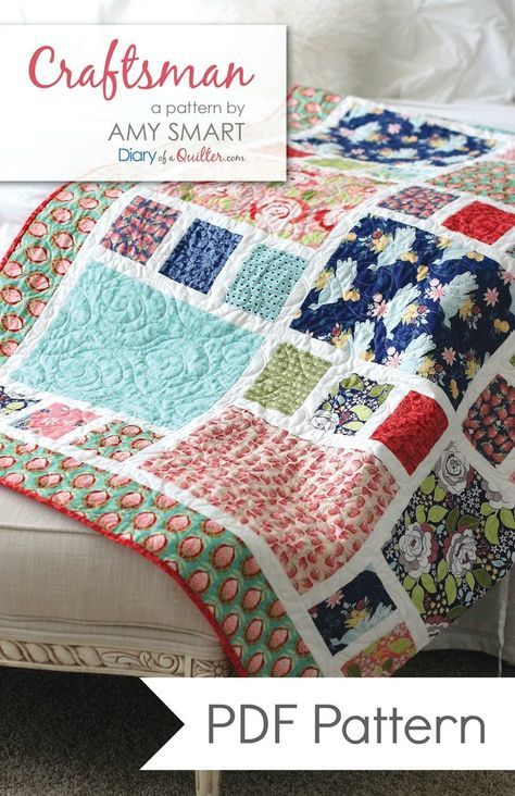 Craftsman Quilt PDF Pattern. Fat Quarter Friendly. Perfect for showing-off large-scale designer collections and prints.  Throw/Twin + Crib size versions availble.