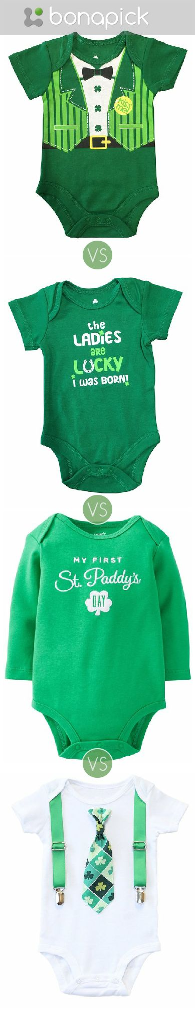 St Patricks Day outfit for a Baby Boy. Green kids fashion, clover tie, bodysuit, tuxedo, kiss me