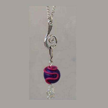 pendentif perle prune fushia : Pendentif par ludifimo