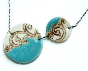 Amy McClure creates asymmetrical ceramic jewelry in fun, bright colors - perfect to wear for the Dotted Ball! Available at the Craft Alliance Delmar Gallery Shop. From $36