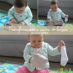 Uma caixa de lenço vira brincadeira para bebês! Veja mais atividades para crianças em www.tempojunto.com