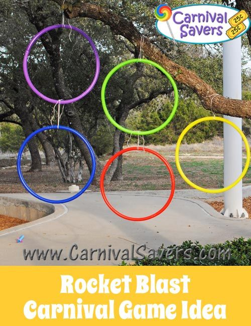 Lots of carnival game ideas--love the idea for shooting rockets through hula hoops!