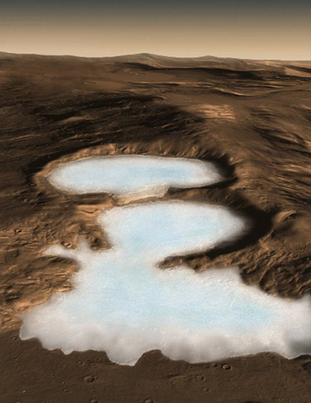 An artist's conception shows what NASA's Mars Reconnaissance Orbiter has revealed, vast Martian glaciers of water ice under protective blankets of rocky debris at much lower latitudes than any ice previously identified on the Red Planet. Scientists analyzed data from the spacecraft's ground-penetrating radar and report in the November 21, 2008 issue of the journal Science that buried glaciers extend for dozens of miles from edges of mountains or cliffs