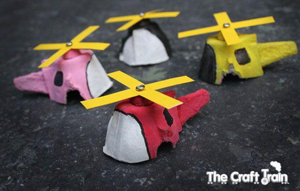 RECYCLED EGG CARTON HELICOPTER