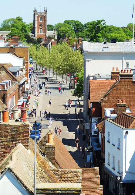 St Albans, St Peter's Street (viewed from the Clock Tower looking toward St Peter's Church)