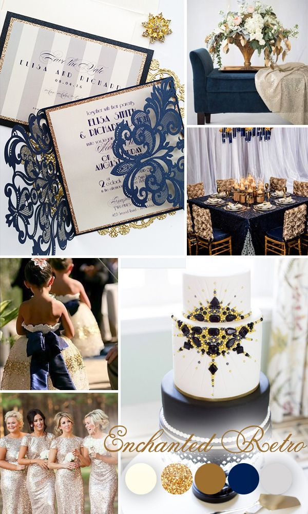 The retro-style Broadway line showcases the best of past days. The deep navy blue and off-white color scheme is accented with hints of gold. The geometric upright modern font gives this theme a distinctly '20s flair. This theme is defined by high contrast and straight, refined lines, offset by the addition of rich navy blue lace. This line portrays a dignified style, with just a hint of the dramatic, and is perfect for the classiest of weddings.
