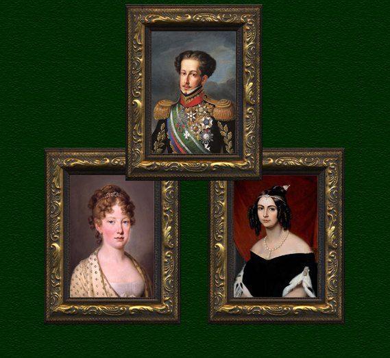 O Imperador D. Pedro I do Brasil e suas duas esposas: à esquerda, Dona Leopoldina (1797-1826), casada em 1817; e à direita, Dona Amélia (1812-1873), casada em 1829.