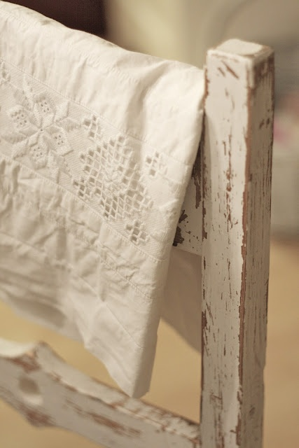 White linen and chipping paint
