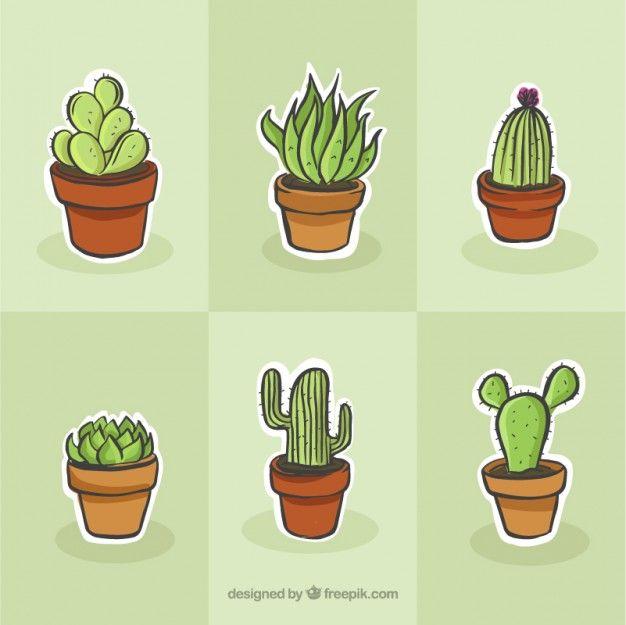 Cactus conjunto de desenho Vetor grátis